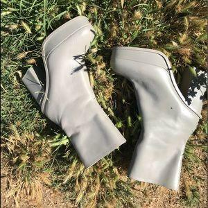 Zara parent leather platform grey bootie